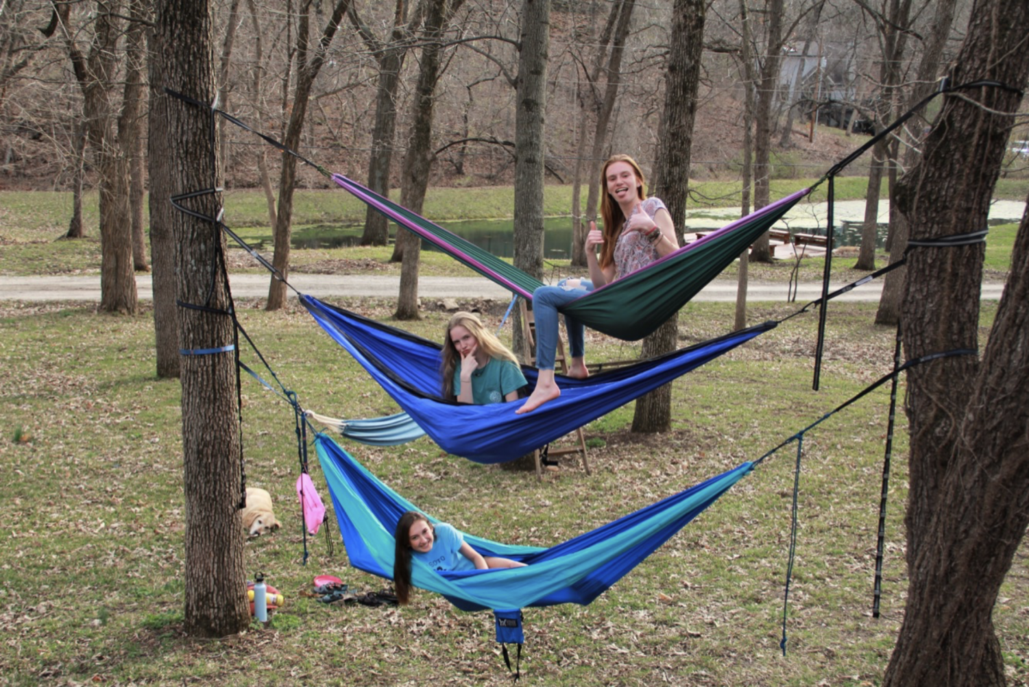 Juniors Lane Hileman, Justine Wheeler, and Erin Pickert hammock on April 7.