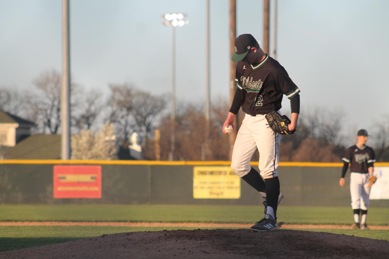 Sophomore pitcher Weston Madden takes the mound against Ottawa on April 12.