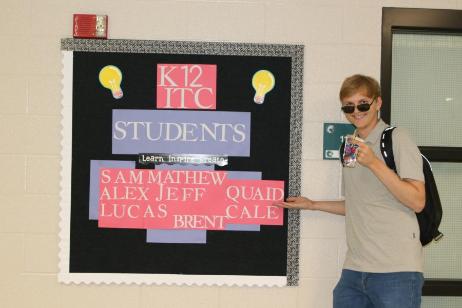 Senior Quaid Tucker shows off his role as a K12 student technology intern on Sept 20.