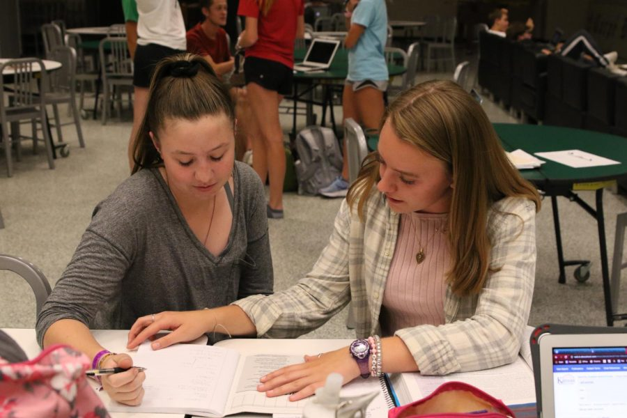 Senior student tutor Delaney Lecluyse helps junior Emma Brownell with her physics homework at Study Tables after school on Sept 4.