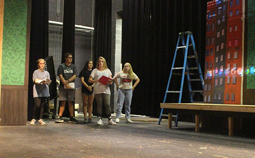 Annie cast members rehearse Act 1 Scene 2 after school on Sept. 17.