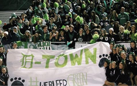The De Soto High School student section comes together to cheer on  the football team at the game against Mill Valley High School on Nov 15.