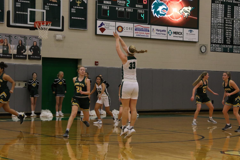 Varsity girls' basketball playing against Basehor-Linwood