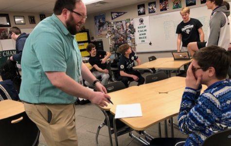 Junior Luke LeBar laughs as English teacher Phillip Hamilton tells a classic dad joke on January 22, 2020.