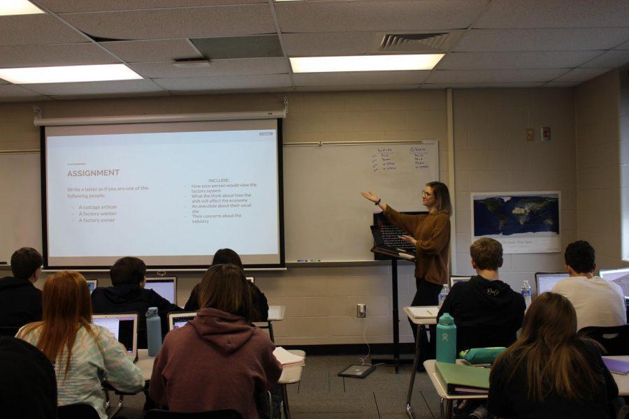 Student teacher Allison Berg teaches a World History lesson during her White 3 class on Thursday, Jan. 30.