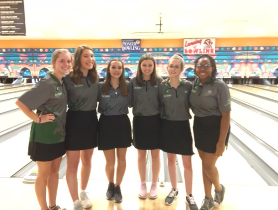 Bowlers Maddie Beal, Ella Fixsen, Grace Wright, Maddy Calvello, Mason Johannes and Tiye' Kindred (from left to right) pose for a picture at Crown Lanes on Jan. 22.