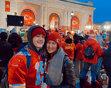 Junior Blake Hinson and senior Allison Oberle support the Chiefs at Union Station during the pep rally on Feb. 5, 2020.