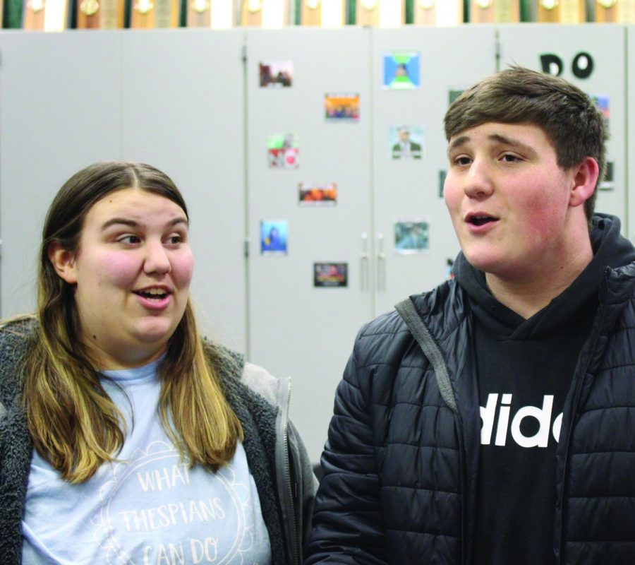 Mamma Mia participants senior Makenna Kerr and junior Bryson Kendall rehearse in the choir room on Jan. 30, 2020.