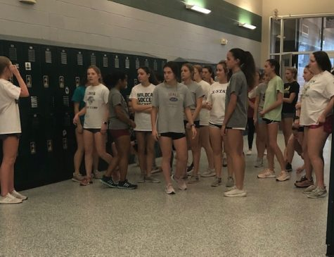 The girl's soccer team prepares for after school conditioning on Feb. 19, 2020.