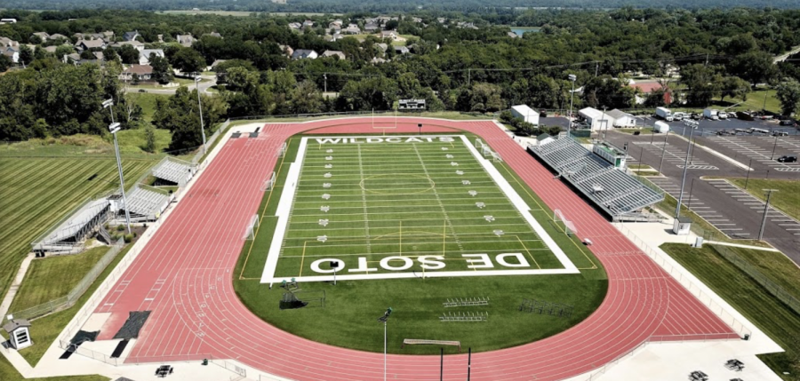 Overview of the De Soto High School field that  will continue to remain empty until the 2020-2021 school year.