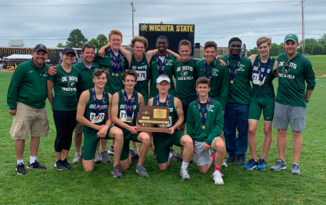 Wildcat photo taken at the Cessna Stadium in Wichita of Jack Sachse with the 5A boy runner-ups on May 30, 2019
