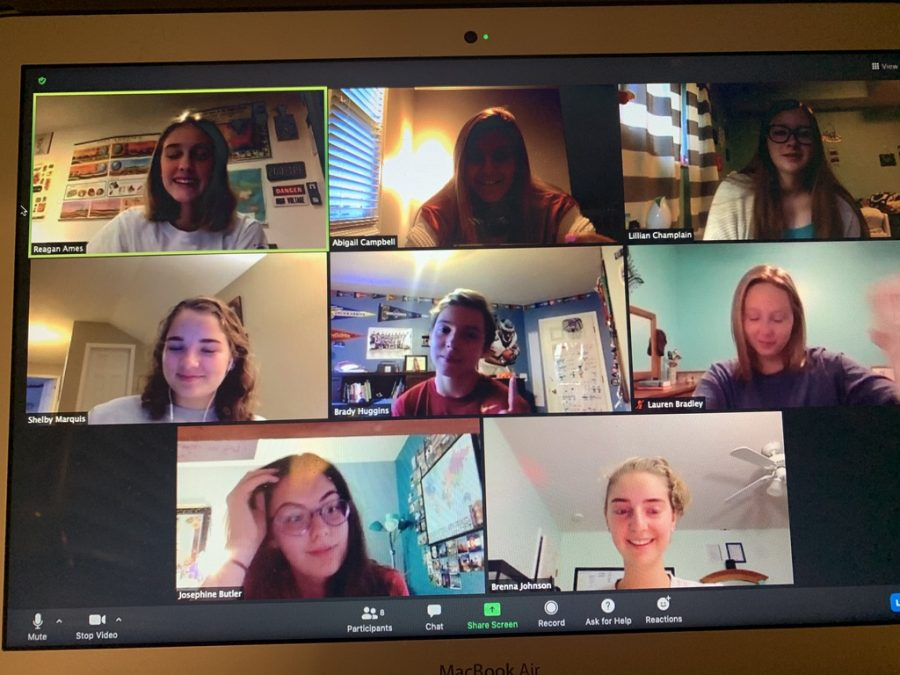 DHS Student Council juniors participate in a Zoom break-out room to discuss student initiative ideas on Wednesday, Sept. 23.