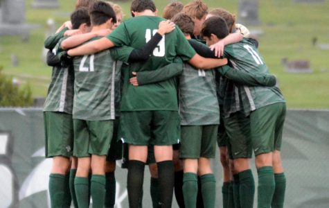 Dhs soccer team gather in huddle before match against Mill Valley on Sep. 8th