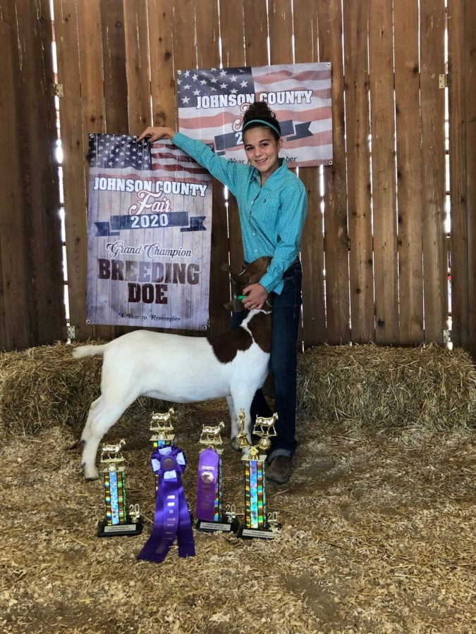 Freshman+Kaylee+King+poses+with+one+of+her+goats+at+the+2020+Johnson+County+Fair.+King+was+the+champion+for+the+breeding+doe+category+at+the+competition.