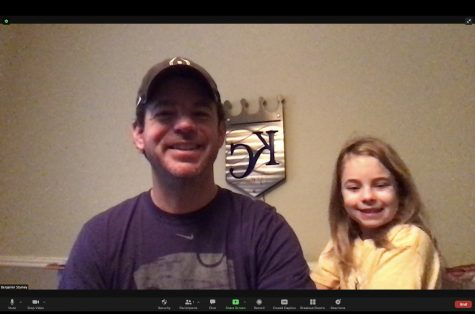 Mr. Stamey hosts his morning office hours with help from his daughter, Rachel.