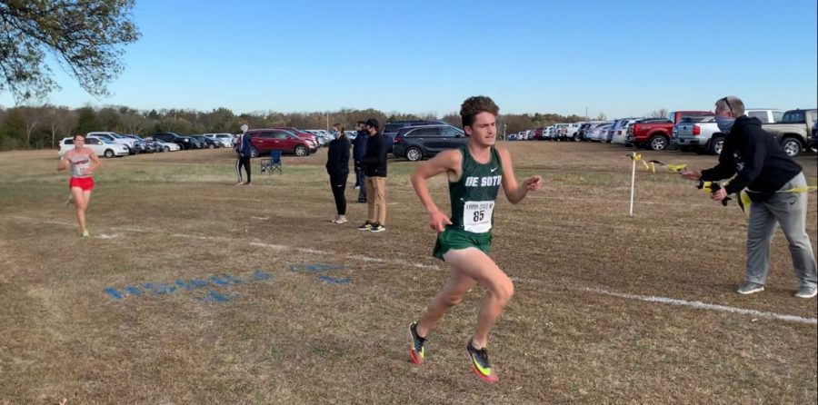 Carson Sturdy runs at the Kansas State Cross Country Championships on Oct. 31 in Augusta.