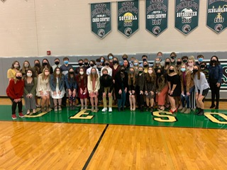 NHS inductees pose for a group picture on Wednesday, Jan. 27