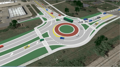Model image of future roundabout at the intersection of 91st Street and Lexington Avenue.