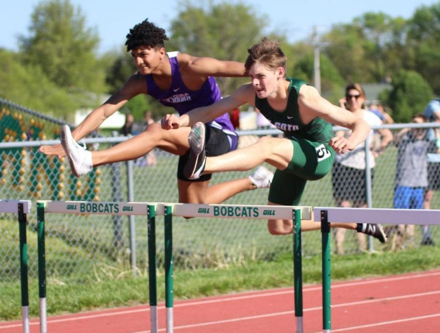 Senior Brady Hudelson running the 300-meter hurdles at  the Shawnee Mission North Relays on May 7.