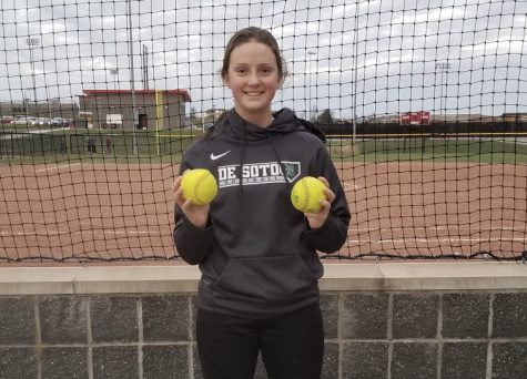 Freshman Marisa Johnson poses for a photo after hitting two home runs within a double-header on March 30.