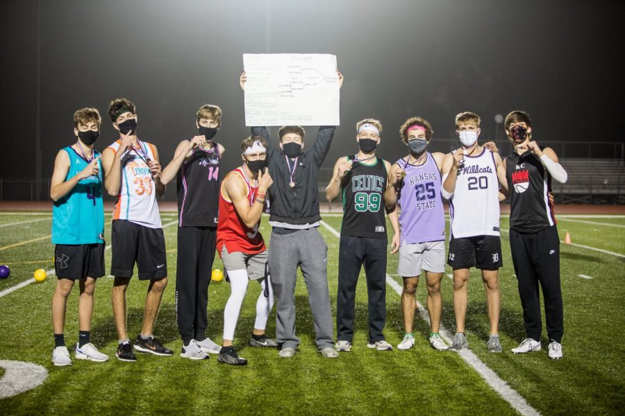 The winning team at the dodgeball tournament on Oct. 21, poses for a group photo.