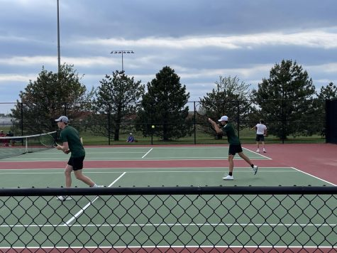 Connor Fitzsimmons and Cole Krudwig playing their first match at State on May 14, 2021 in Wichita, Kansas.