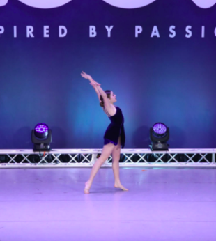 Sophomore Addie Warnes competes at Groove Competition in mid March, 2021.