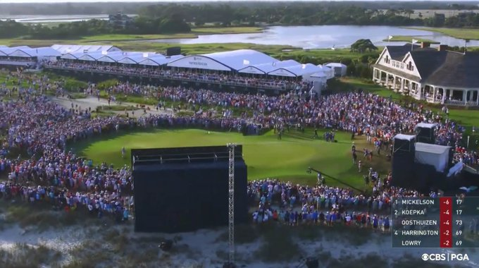 Thousands of fans surrounded the 18th green at the PGA Championships where Phil Mickelson sank his final putt on Sunday, May 23.