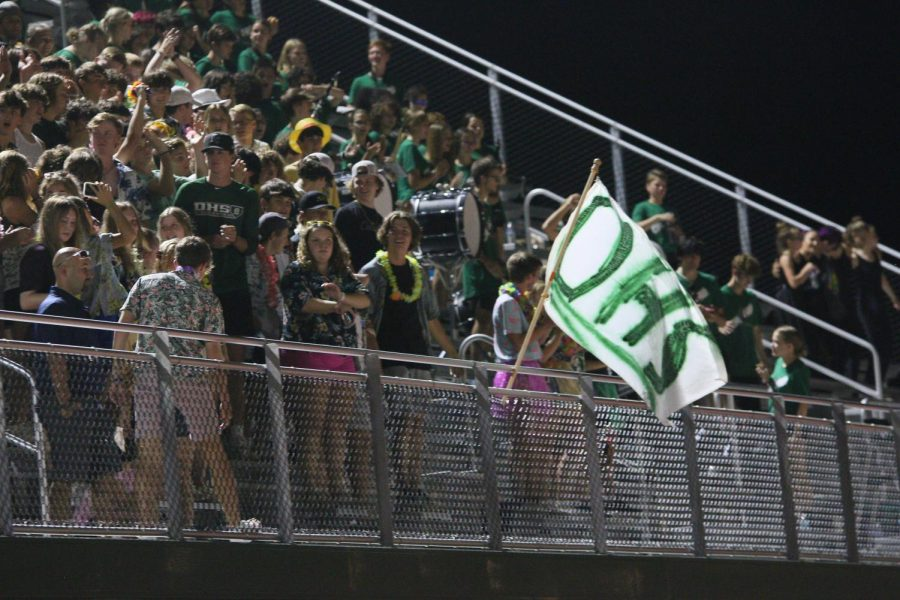 The student section gets hyped up for the game.