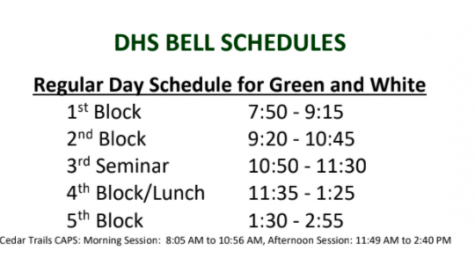 The new 2021-2022 school year block schedule
